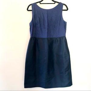 J. Crew Collection Navy Linen & Silk Dress